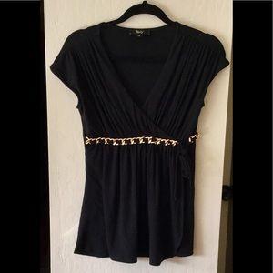 Sky Brand Black/Gold Cap-sleeve wrap Top M